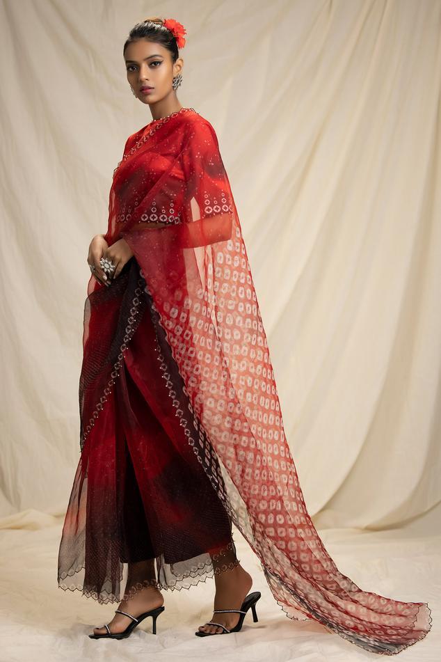 Silk Organza Bandhani Print Saree with Blouse