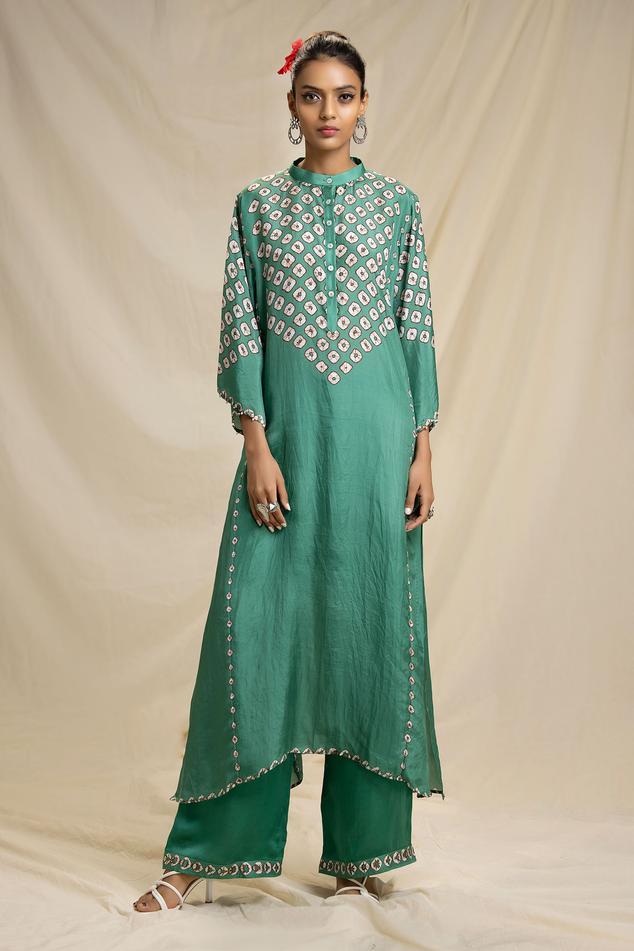 Silk Bandhani Print Kurta & Pant Set