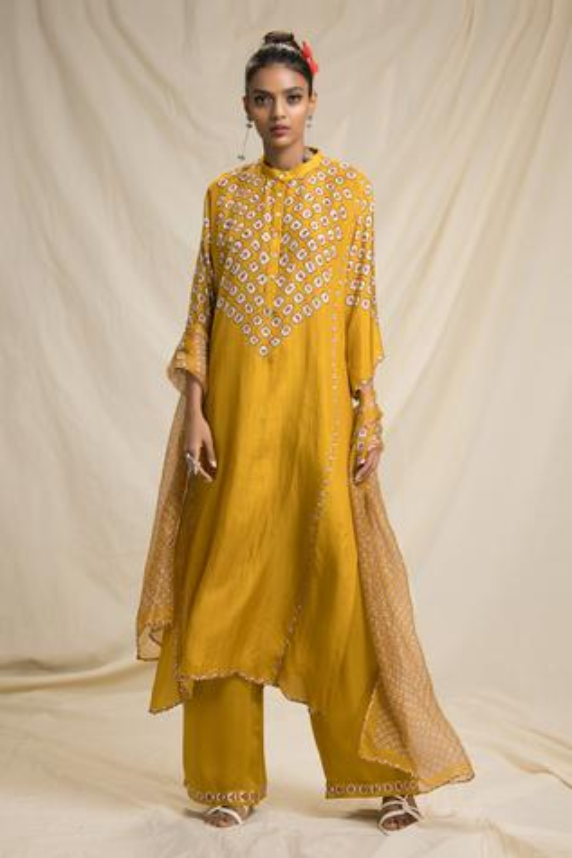 Silk Bandhani Print Kurta Set