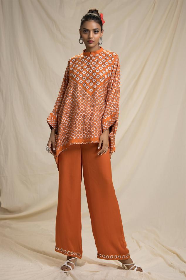 Silk Bandhani Print Tunic & Pant Set