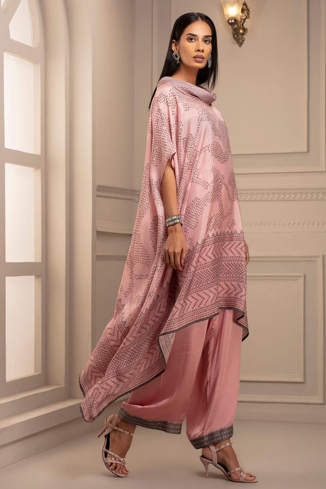 Silk Asymmetric Draped Tunic & Pant Set