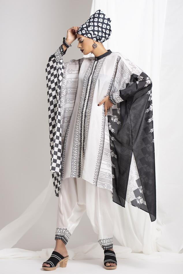 Silk Kaftan Tunic & Draped Pant Set