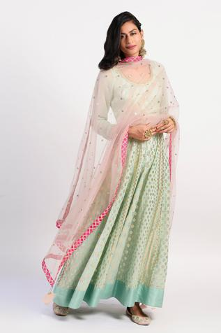 Chanderi Pleated Anarkali with Dupatta