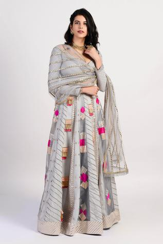 Embroidered Chanderi Lehenga Set