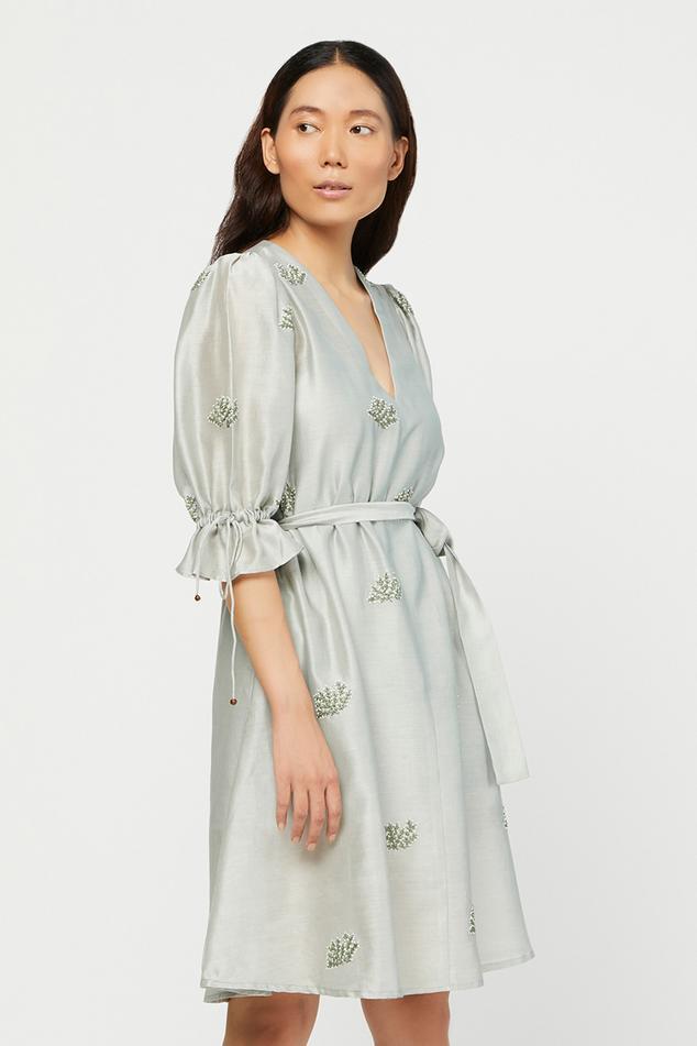 Silk Chanderi Floral Embroidered Dress