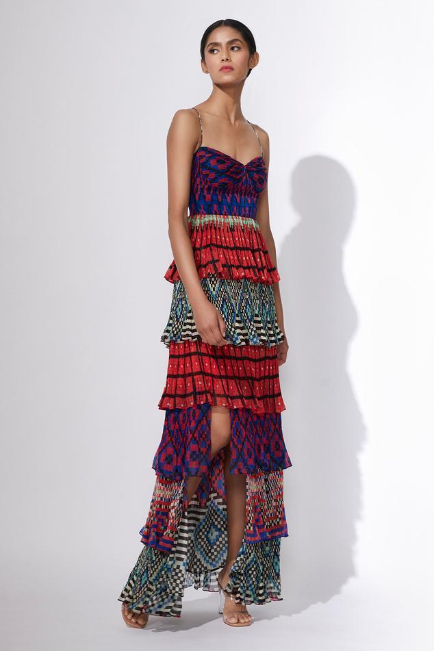 Hand Micro Pleated Layered Dress