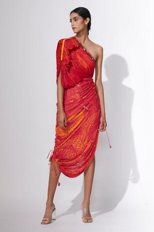 Hand Micro Pleated One Shoulder Dress