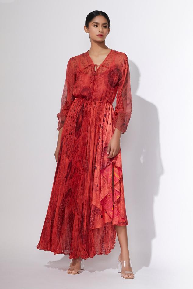 Hand Micro Pleated Asymmetric Dress