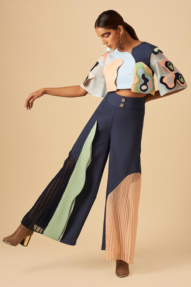 Applique Colorblock Trouser