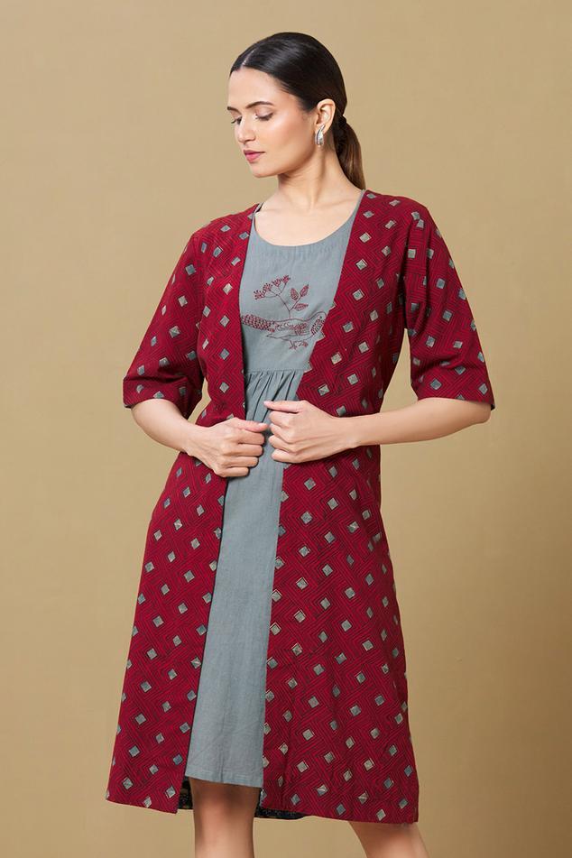 Dress with Ajrakh Jacket