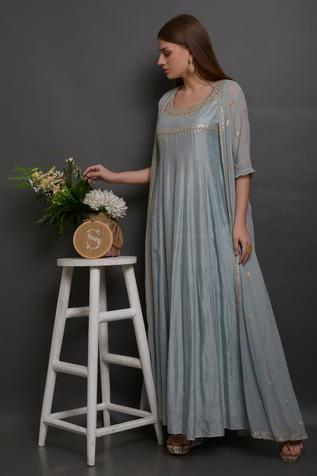 Hand Embroidered Chanderi Gown with Jacket
