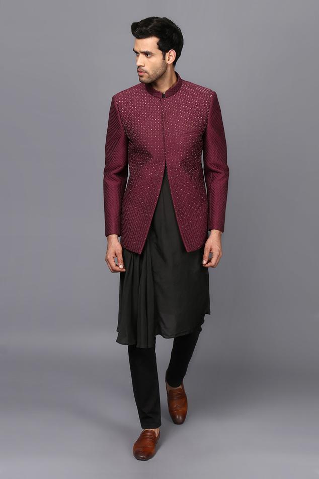 Draped Kurta & Embroidered Bandhgala Set