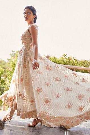 Embroidered Anarkali with Chanderi Pant