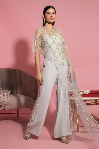 Jumpsuit with Embroidered Asymmetric Cape