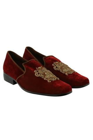 Velvet Embroidered Loafers