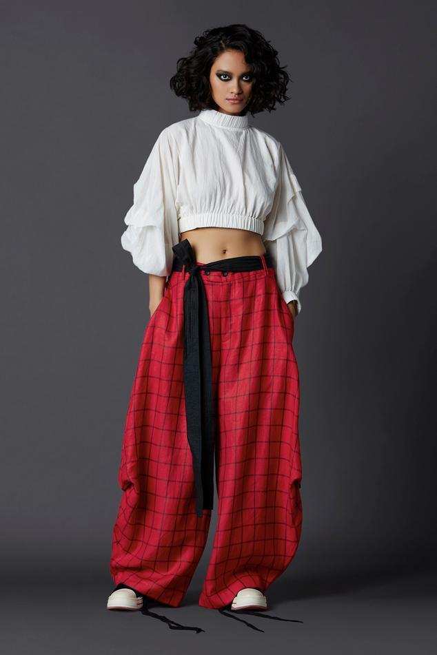Linen Checkered Pant Set