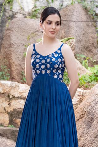 Raw Silk Embroidered Gown