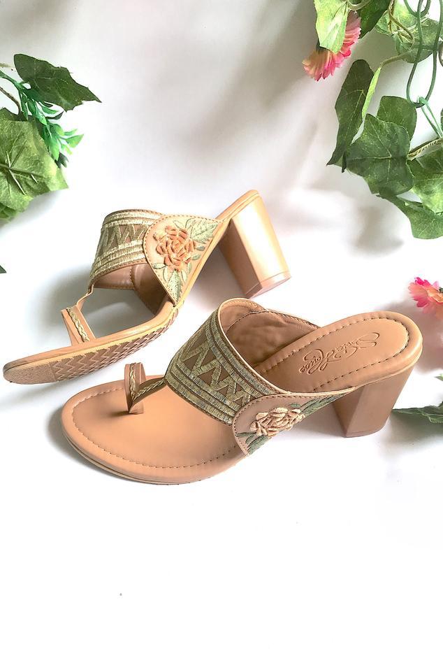 Embroidered Kolhapuri Block Heels