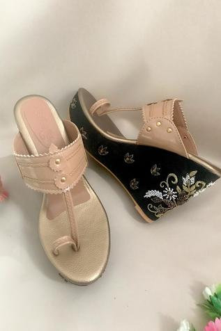 Floral Embroidered Kolhapuri Wedges