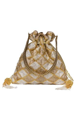 Embroidered Checkered Potli Bag