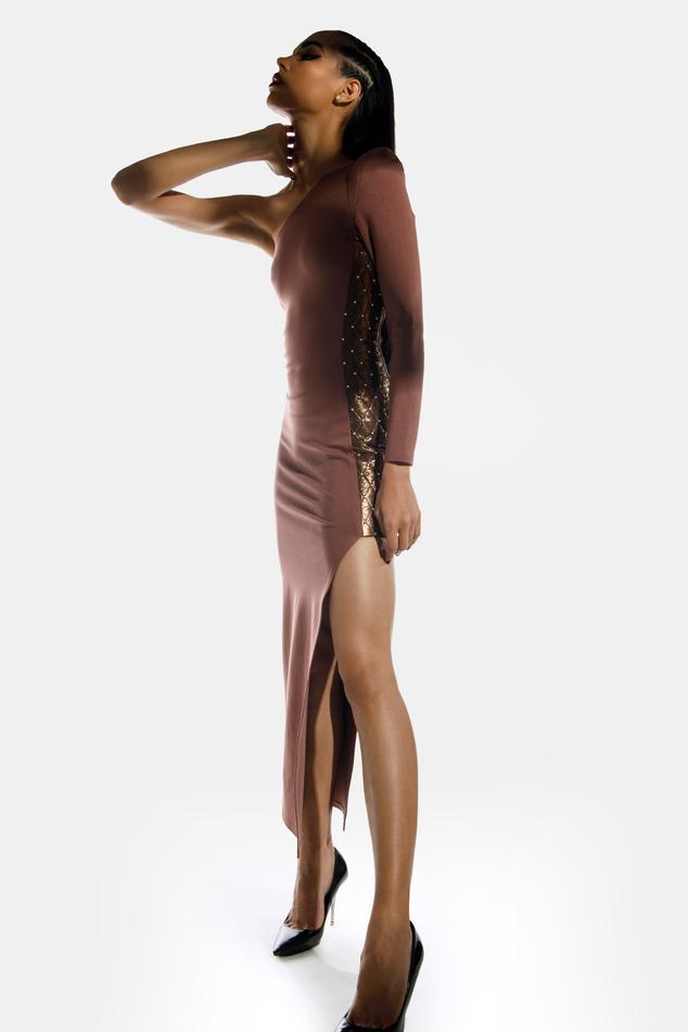Applique Bodycon One Shoulder Dress