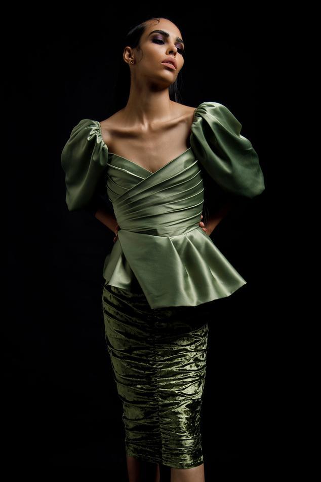 Peplum Draped Dress
