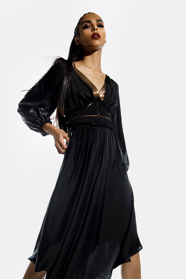 Asymmetric Cowl Neck Dress