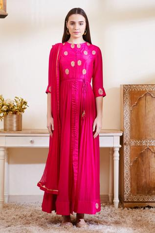 Silk Embroidered Anarkali with Dupatta