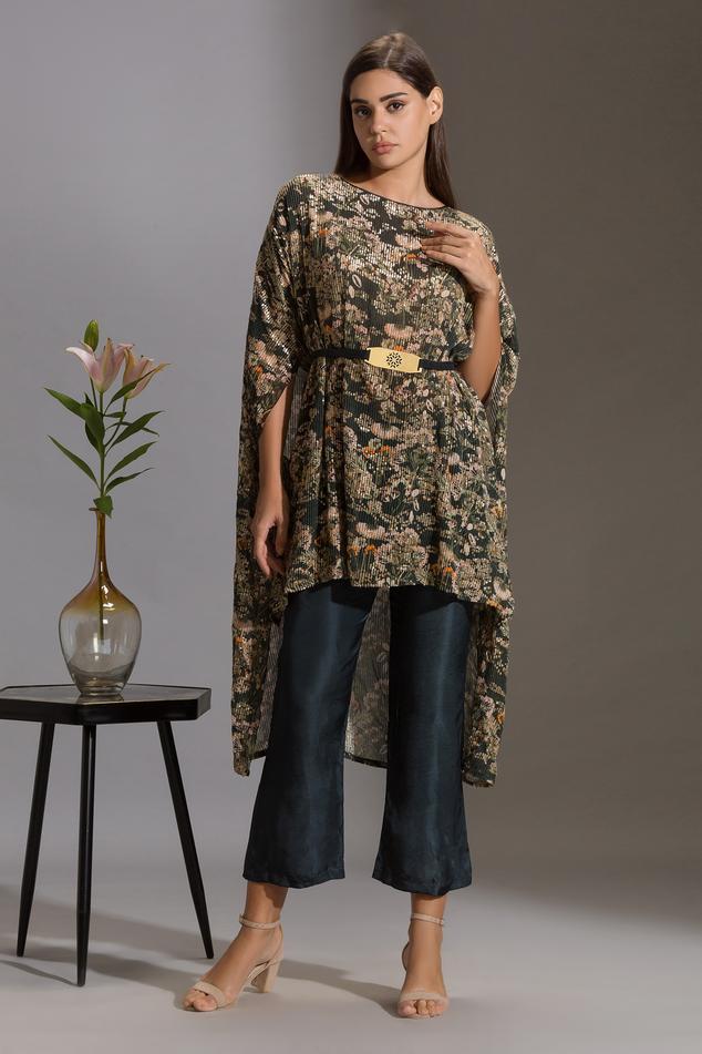 Sequin Embroidered Kurta & Pant Set