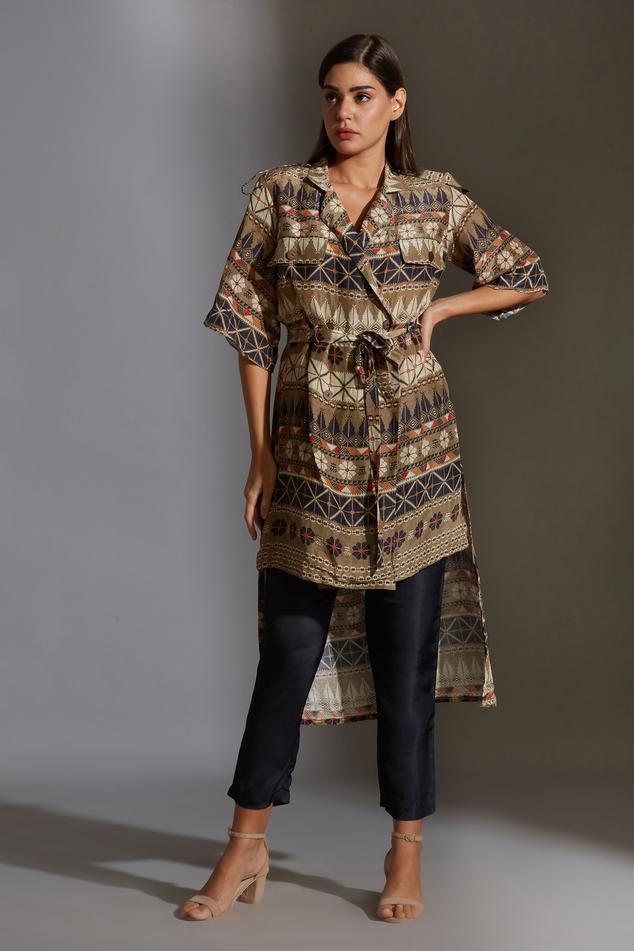 Printed Linen Tunic & Pant Set