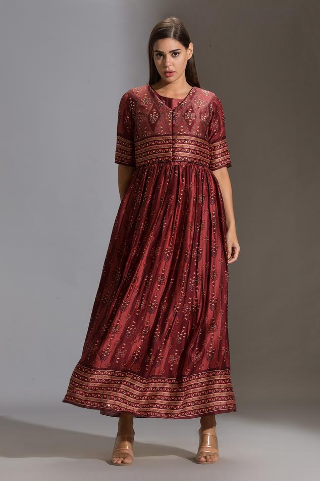 Silk Printed Dress with Jacket