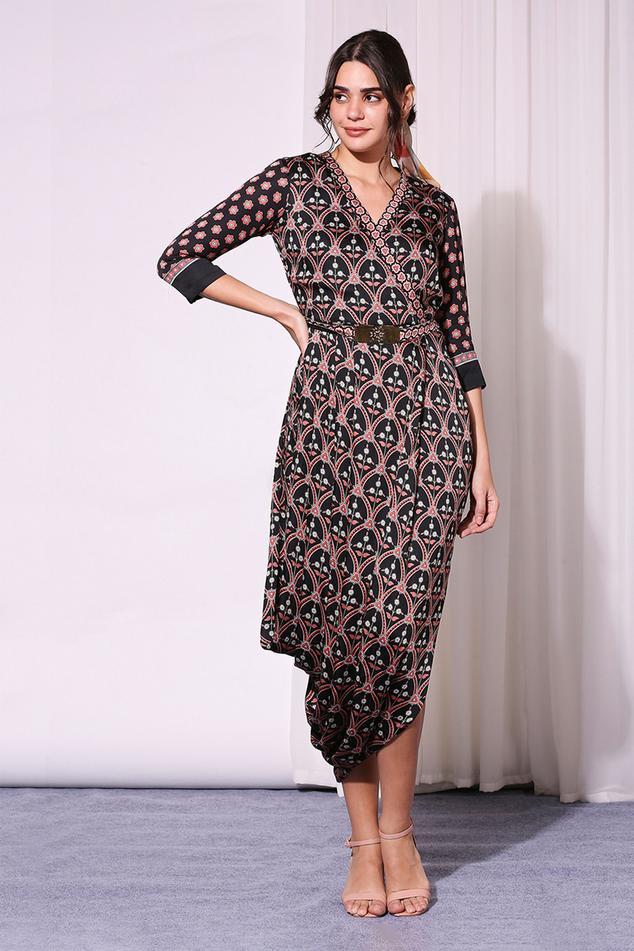Floral Print Draped Dress