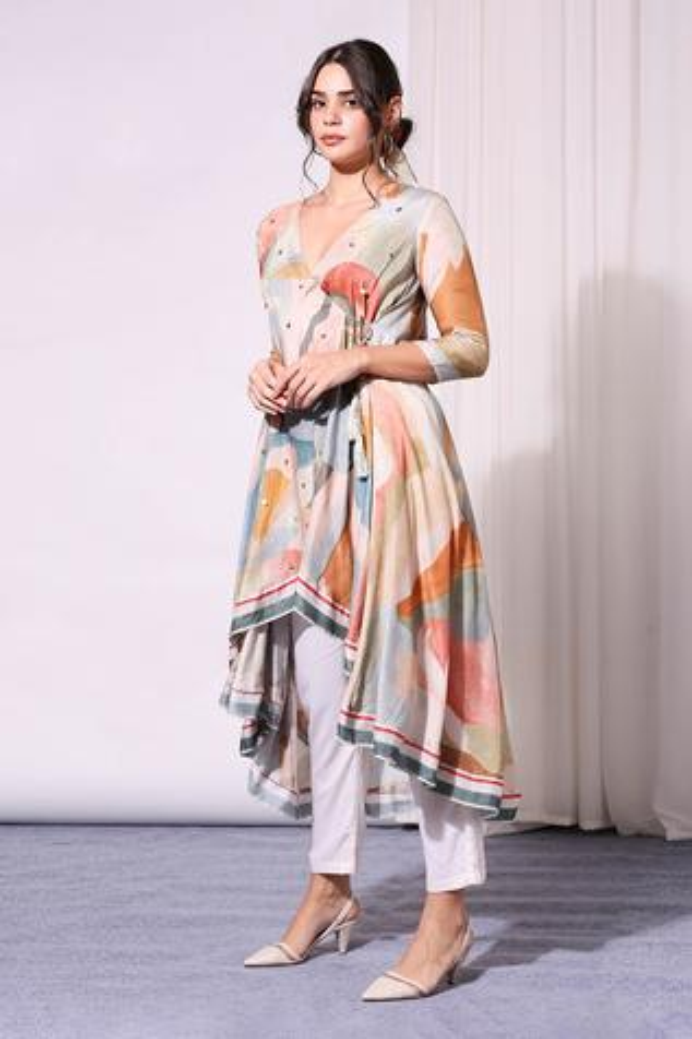 Printed Angarkha Kurta & Pant Set