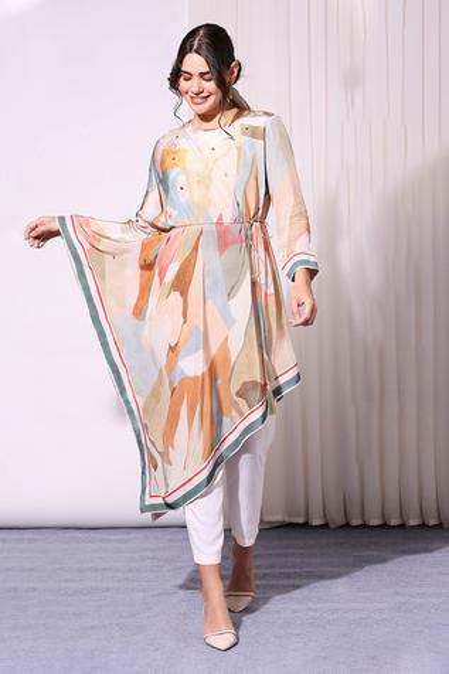 Printed Asymmetric Tunic & Pant Set