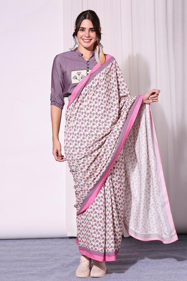 Printed Pre-Draped Saree with Blouse