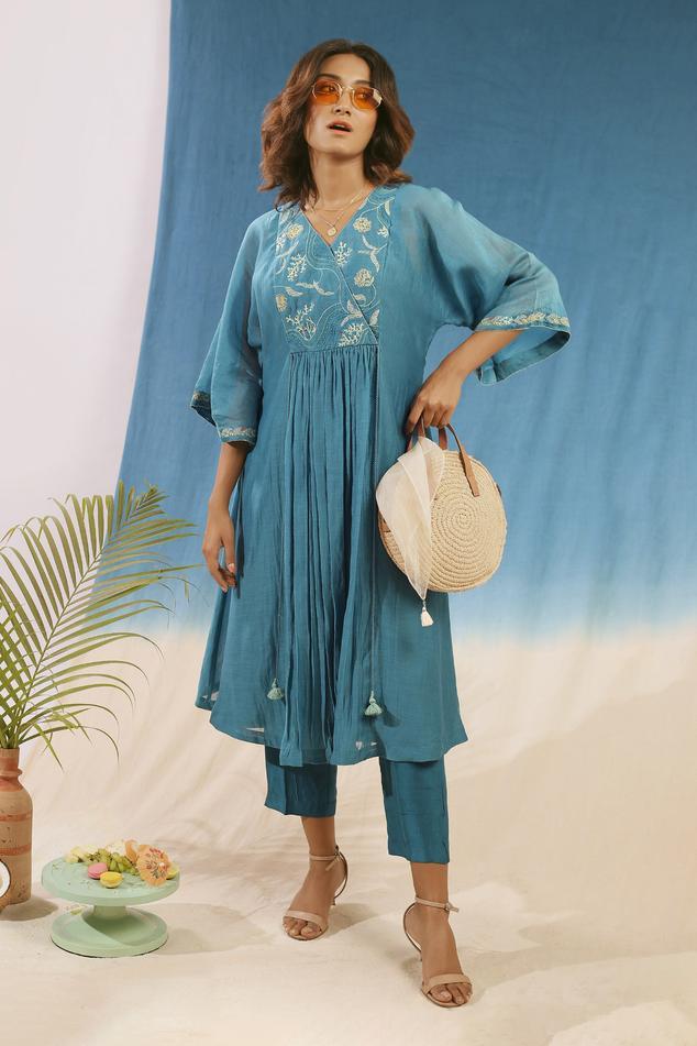 Embroidered Anarkali & Pant Set