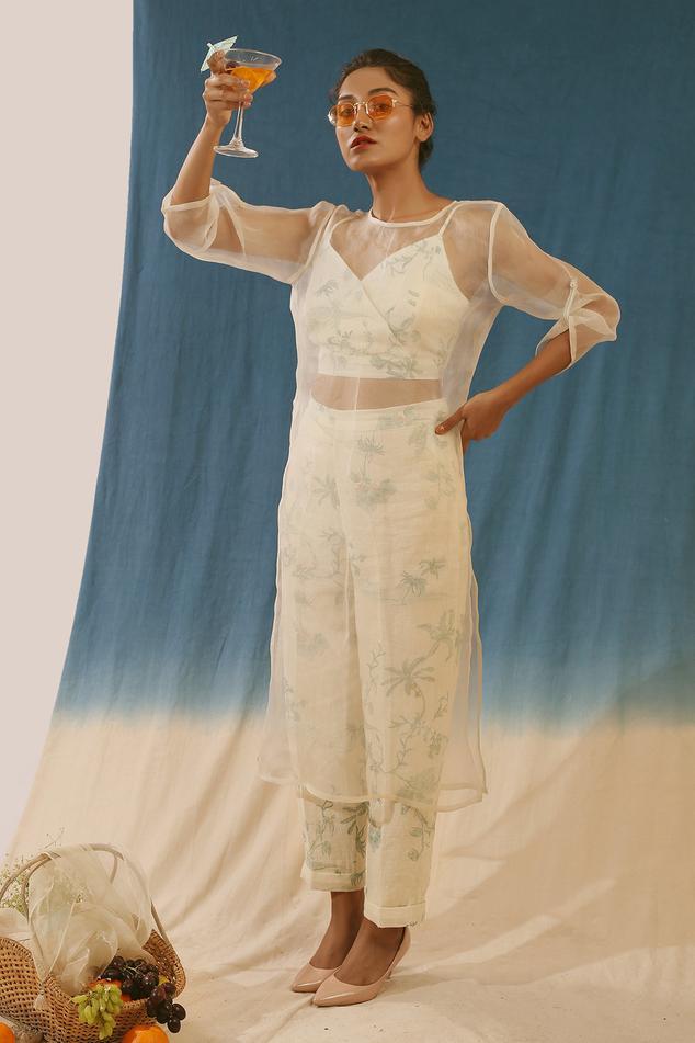Organza Tunic & Printed Pant Set