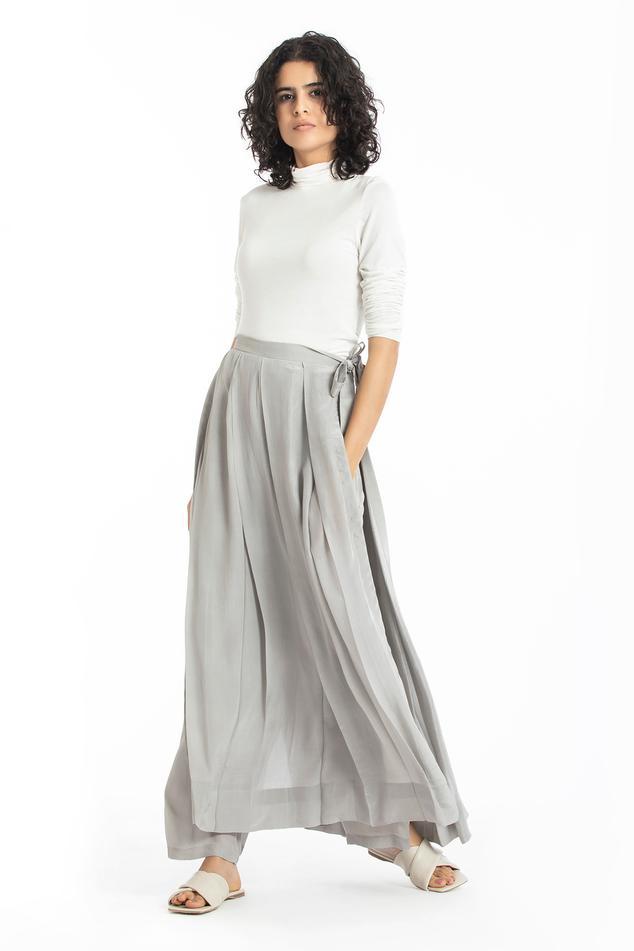 Pleated Silk Crepe Skirt
