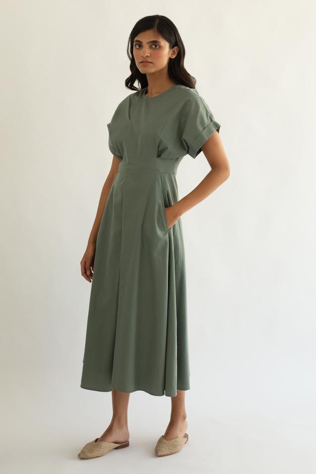 Cotton Satin Midi Dress
