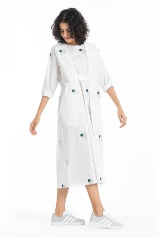 Polka Dotted Overlay Dress