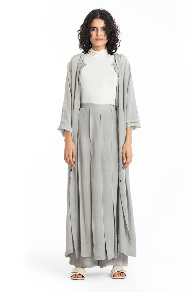 Silk Crepe Long Jacket