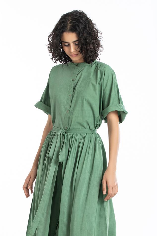 Shirt Dress with Silk Wrap Skirt
