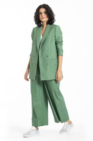 Double Breasted Blazer with Flared Pant