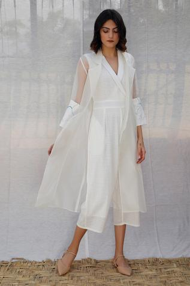 Textured Jumpsuit & Jacket Set