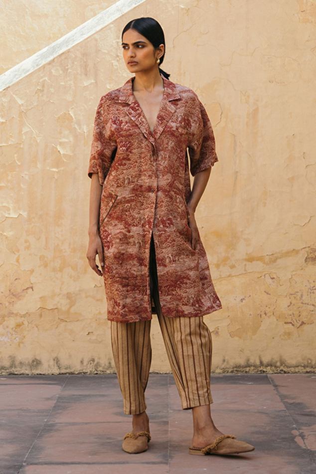 Linen Printed Long Jacket