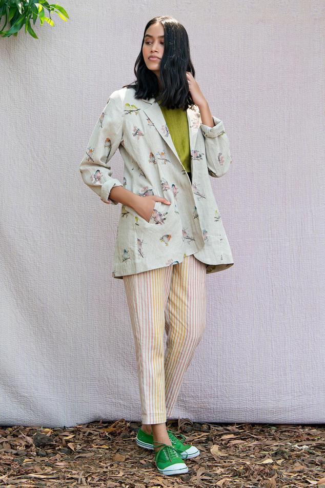 Linen Floral Print Jacket