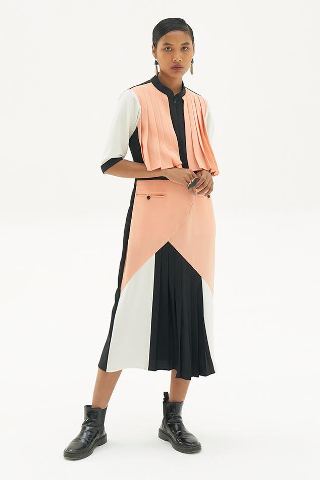 Colorblock A-line Dress