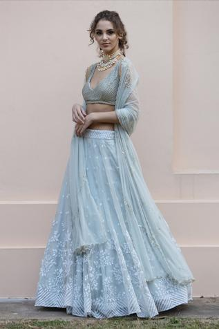 Embroidered Organza Lehenga Set