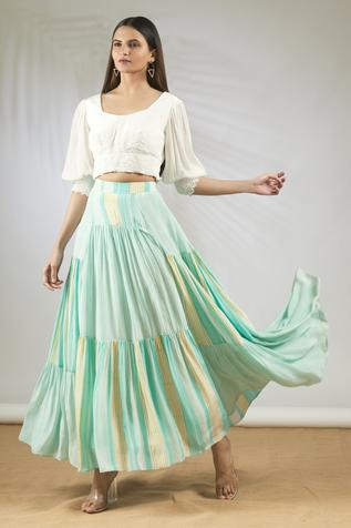 Crop Top with Tiered Skirt