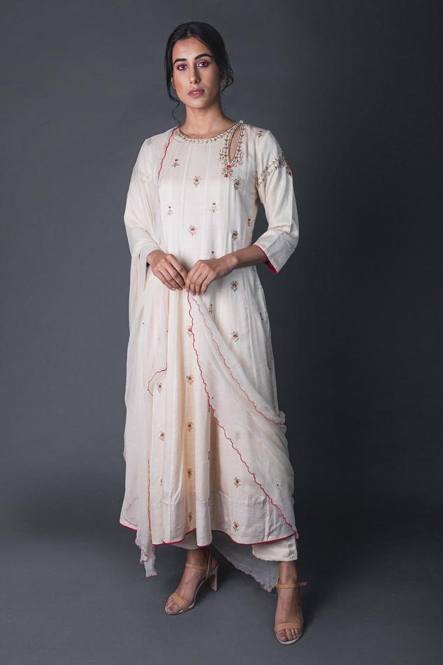 Silk Embroidered Anarkali Set